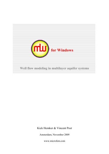 MLU for Windows User's Guide • Well flow modelling ... - Hydrology.nl