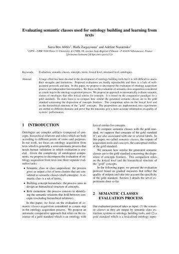 Evaluating semantic classes used for ontology building ... - Quaero