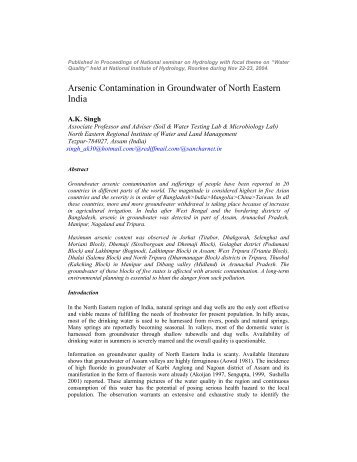ARSENIC Contamination - seminar Paper by AKSingh, Assam