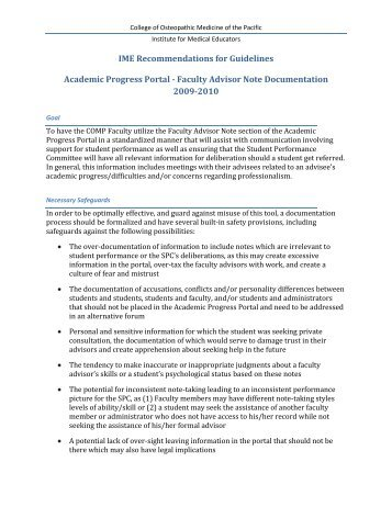 Recommendations for Faculty Advisor Notes in APP