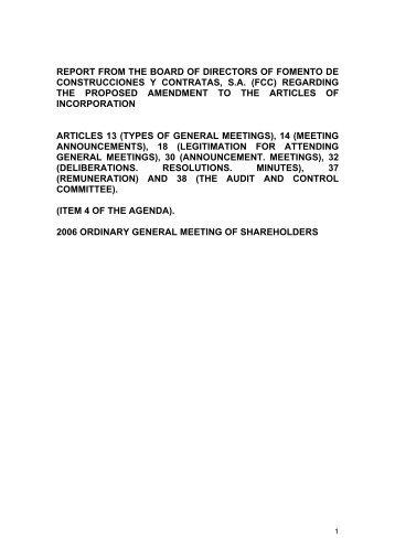 Board of Directors report on proposed statuatory modifications - FCC