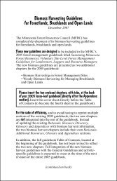 Biomass Harvesting Guidelines - Minnesota Forest Resources Council
