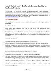 Criteria for ILM Level 7 Certificate in Executive Coaching and ...