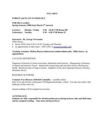 SYLLABUS FOREST and PLANT PATHOLOGY FOR 404 (2 credits ...