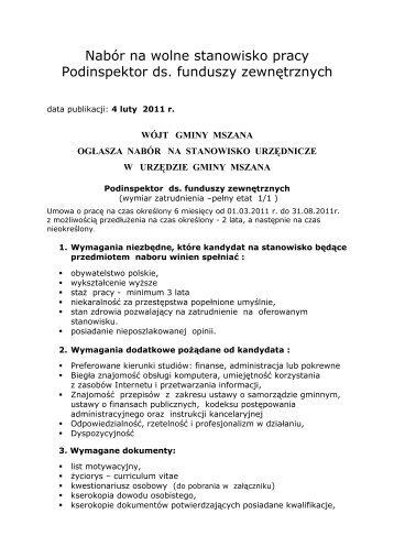 nabór na stanowisko ds. funduszy zewnętrznych - Biuletyn ...