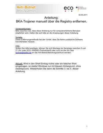 Anleitung: BKA-Trojaner manuell über die Registry entfernen.