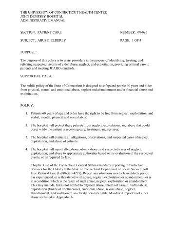 Patient Care Abuse: Elderly - Department of Nursing - University of ...