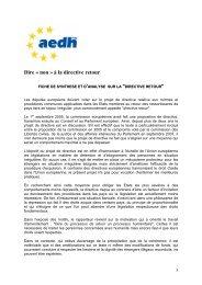 Dire « non » à la directive retour - AEDH