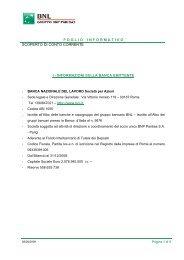 Foglio Informativo - Bnl