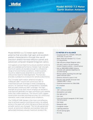 Model 8010D 7.3 Meter Earth Station Antenna - ViaSat