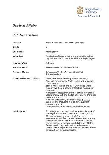 Student Affairs Job Description