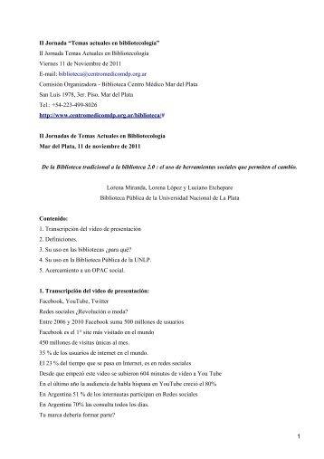 II Jornadas de Temas Actuales en Bibliotecología - Centro Médico ...