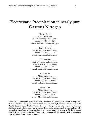 Electrostatic Precipitation in nearly pure Gaseous Nitrogen