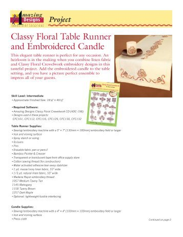 Classy Floral Table Runner and Embroidered Candle - Amazing ...