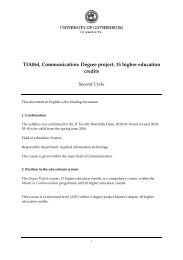 TIA064, Communication: Degree project, 15 higher education credits