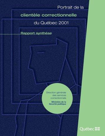 Portrait de la clientèle correctionnelle du Québec 2001