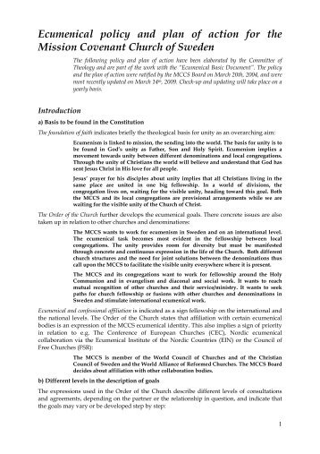 Ecumenical policy and plan of action for the Mission Covenant ...