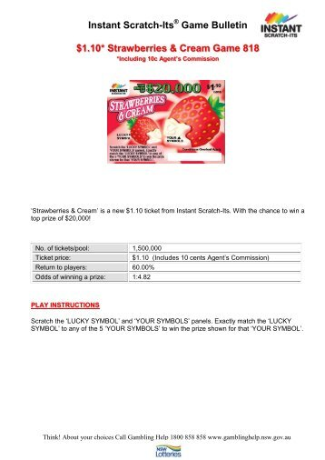 Instant Scratch-Its Game Bulletin $1.10* Strawberries & Cream ...