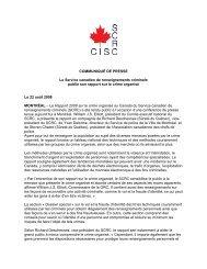 Communiqué de 2008 - Service canadien de renseignements ...