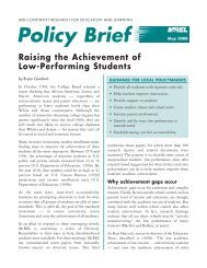 Policy Brief - Raising the Achievement of Low-Performing Students ...