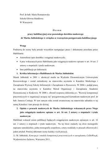 Prof. dr hab. Maria Romanowska Szkoła Główna Handlowa W ...