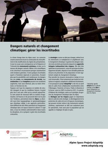 Dangers naturels et changement climatique: gérer les incertitudes