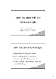 Train the Trainer in der Rheumatologie - Zentrum Patientenschulung