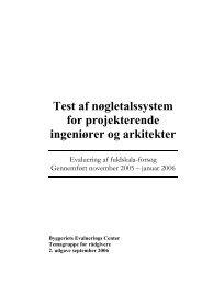 Test af nøgletalssystem for projekterende arkitekter og ingeniører