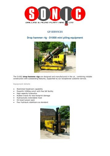 GP.SERVICES - Sonic Plant Hire