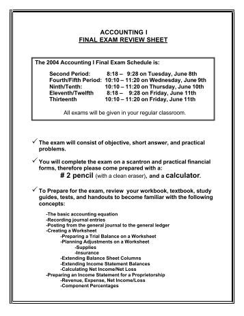 final exam review acct 3320 001 Acct 3311-001 (wf, 2:00pm-3:15pm) for the final exam immediately after you review your exam results.