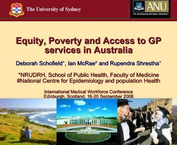 Equity, Poverty and Access to GP services in Australia services in ...
