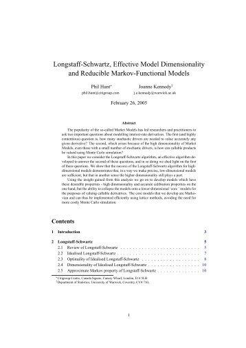 Longstaff-Schwartz, Effective Model Dimensionality and Reducible ...