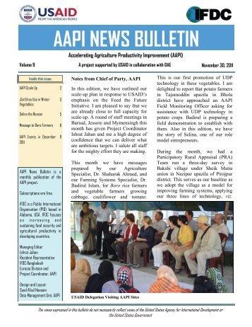 AAPI Bulletin Vol 9 November 2011 - AAPI (Accelerating Agriculture ...