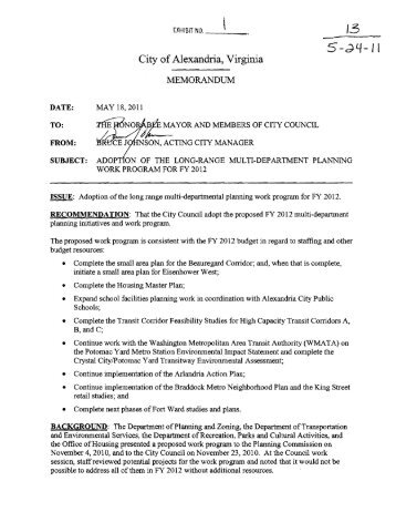 Long Range Multi-Department Planning Work Program
