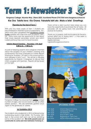 2013 Term 1 Issue 3 - Tangaroa College