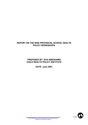 Report on the nine provincial school health policy workshops