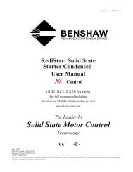 RediStart Solid State Starter Condensed User Manual - MX2 Control
