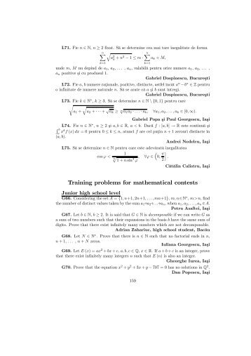 Training problems for mathematical contests