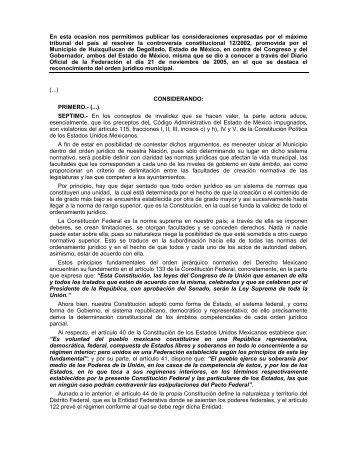 Orden Jurídico Municipal, Nueva Interpretación - Indetec