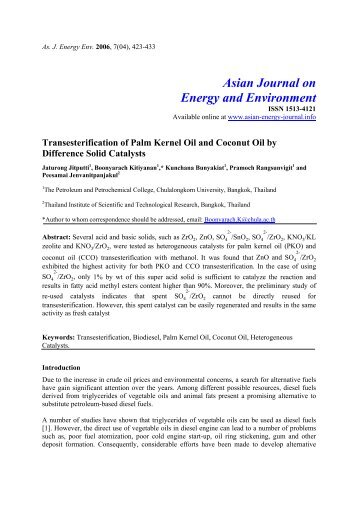 Trans-esterification of palm kernel oil and coconut oil by different ...