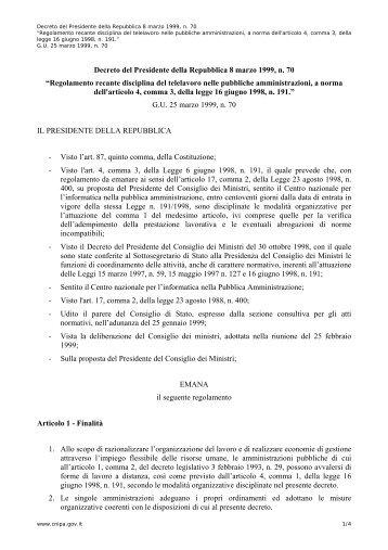 Decreto del Presidente della Repubblica 8 marzo ... - Archivio CNIPA