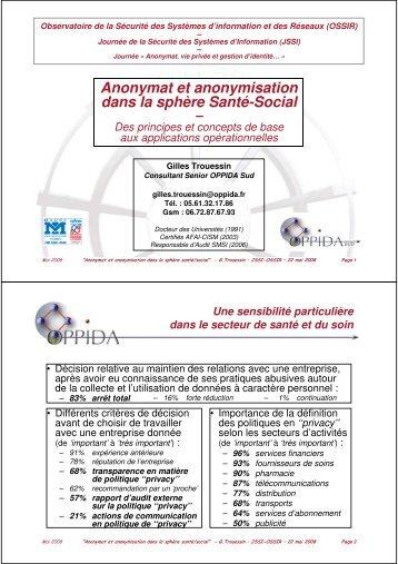 Anonymat et anonymisation dans la sphère Santé-Social - OSSIR