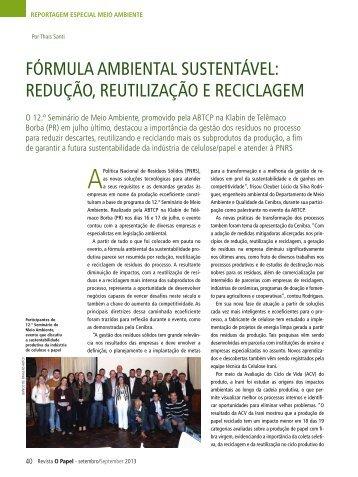 fórmula ambiental sustentável: redução ... - Revista O Papel