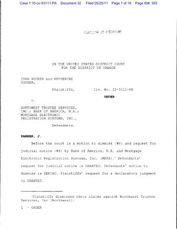 Hooker v. Northwest Trustee Services - BuckleySandler LLP