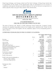sim technology group limited 晨訊科技集團有限公司 - TodayIR.com