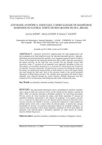Mortalidade em mamíferos marinhos - pucrs