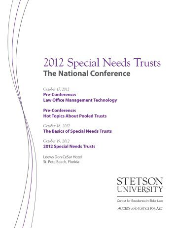 2012 Special Needs Trusts - 2013 Schedule - Stetson University