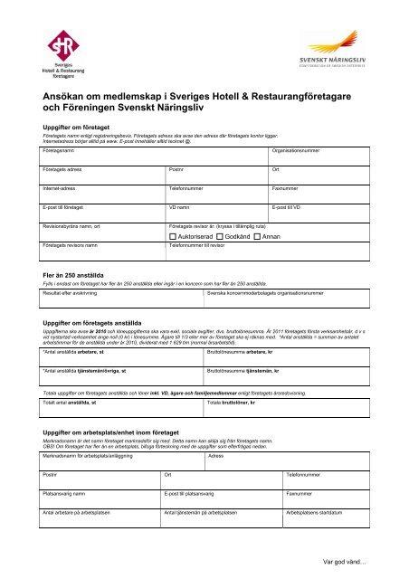 Ansökan om medlemskap i Sveriges Hotell ... - Visita