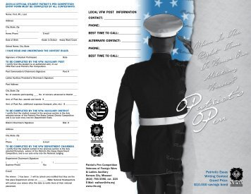Patriotic Essay Writing Contest Grand Prize - Veterans of Foreign Wars