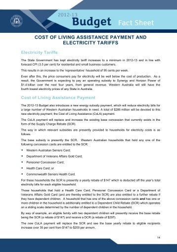 Cost of Living Assistance Payment and Electricity Tariffs